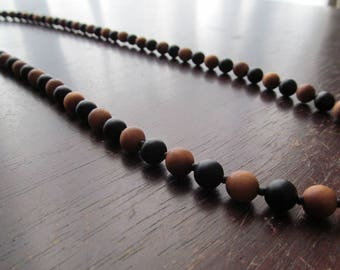 Men's Sandalwood and Onyx Necklace, Mens Long Beaded Necklace, Men's Necklace, Matte Black Onyx, Beaded Wood, Long Necklace, Mens Jewelry