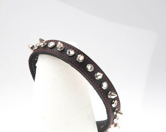 "3/4"" Wide Black Leather Collar Choker red stitched border with Swarovski Crystals & Spikes Chrome/Silver Gotchic Punk Wedding handmade USA"