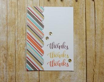 Thanks Greeting Card / Handmade / Blank Inside Greeting Card / Stamped Greeting Card / Thanks Greeting Card / Fall Card