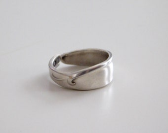 Spoon Ring, Silverplated Spoon Ring, Wave Band