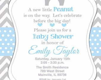 Elephant, Elephant Baby Shower,  Baby Boy, Boy, Baby Shower Invitation - Printable or Printed with FREE SHIPPING