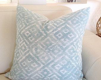 Seafoam Cushions Seafoam Pillows Coastal Hampton's Pillows, Cover only, Ikat Diamonds, Spa Green, Seafoam Green  Decorative Pillow