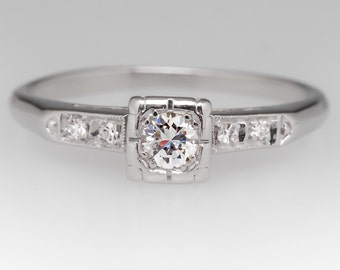1940s Diamond Engagement Ring - Vintage Petite Diamond Platinum Engagement Ring - WMM11865
