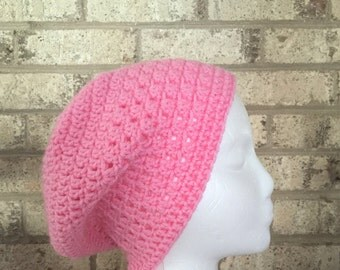 Ready To Ship Slouchy Hat Pink All Seasons Slouchy Beanie  Crochet Hat Beanie Women's Crochet Hat Accessories Gifts For Her