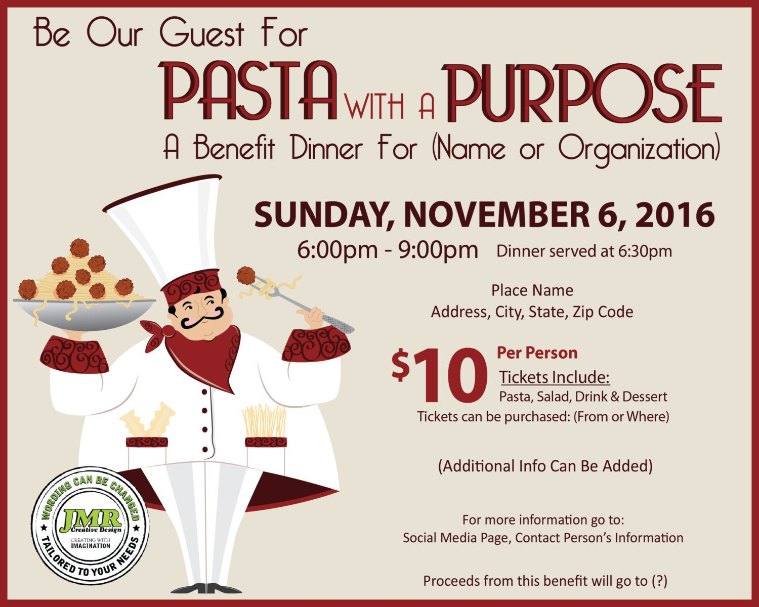 fundraising brochure template - italian dinner fundraiser flyer benefit dinner flyer pasta