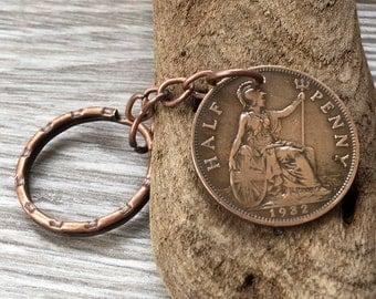 86th or 87th birthday gift, 1931 or 1932 British coin keychain, English halfpenny keyring, Britannia keychain, England present for him, man