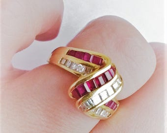 Retro Swirl Zig Zag Natural Ruby Diamond Baguette Anniversary Statement Ring 18K YG! Vintage Estate Right Hand July Birthstone Channel Set