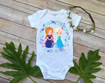 Elsa and Anna, Princess shirt, Elsa bodysuit, Frozen party shirt, Frozen birthday, Princess Anna gift, Elsa and Anna shirt,Frozen party set