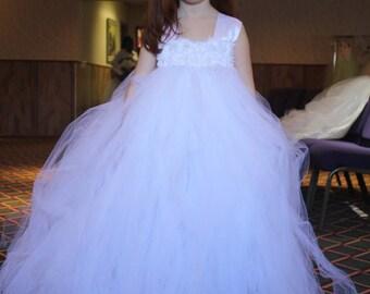Flower girl dress - Tulle flower girl dress -White Dress - Tulle dress-Infant/Toddler - Pageant dress - Princess dress - White flower dress