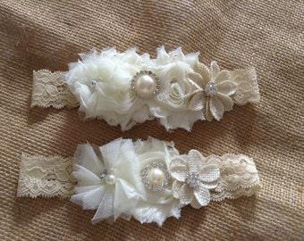 Bridal Garter Set-Country Couture Southern Bridal Garter-Bride-Wedding-Handmade