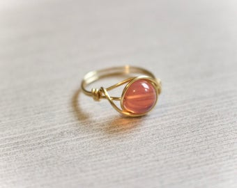 Wire wrapped ring, gold wire ring, gold ring, pink stone ring, pink gemstone wire ring, custom ring, gold band ring, dainty stone ring