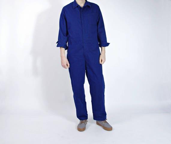SALE 40% OFF - 1990 Marquardt & Schulz Indigo Mechanic Workwear Herringbone Cotton Coveralls / Men Size L/XL