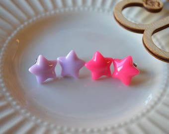 Two Pairs of Star doki doki Hypoallergenic Resin Stud Earrings in Pink and Purple