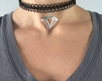 Black Wire Diamond Choker Necklace with Love Pendant \\ Choker Necklaces