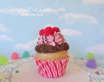 Fake Cupcake Faux Valentine's Day Chocolate Raspberry
