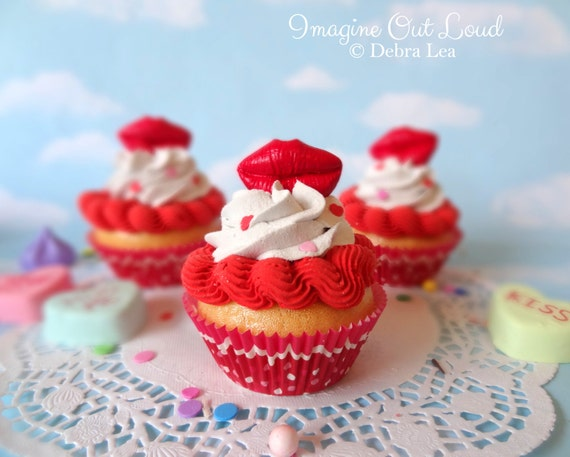 Fake Cupcake Faux Valentine's Day Red Hot Lips