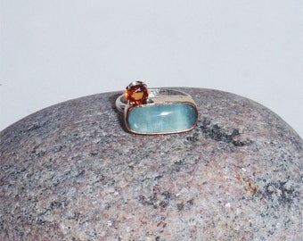 Sunrise - natural sapphire and aquamarine OOAK sterling silver ring