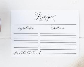 Editable Recipe Card Recipe Card Printable 4x6 Recipe Card