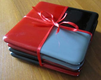 "Fused Glass Coasters - Glass Coasters - Home Decor - Protective Feet - Measures 4"" x 4"" each"