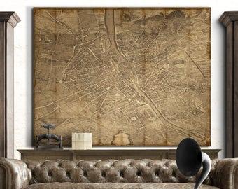 Paris Map Print - Turgot's 1739 Plan de Paris Decoupage Map : Vintage Paris Map - Archival Giclee Canvas Print