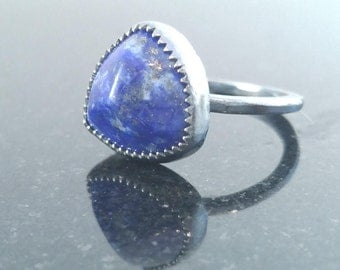 Sterling Silver and Lapis Ring Inner Power Love Purification Intuition Self-Confidence
