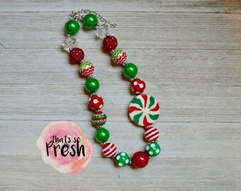 Gingerbread Chunky Necklace, Candy Cane Chunky Necklace, Gingerbread Outfit, Christmas Chunky Necklace, Candy Chunky Necklace