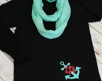 Ladies monogram shirt, Long sleeve monogram shirt, Anchor monogram, Bottom left monogram, Personalized gift for her, monogram shirts