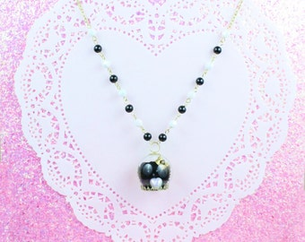 Lolita necklace-pearl necklace-kawaii necklace-sweet lolita-mini dome-black pearls-white pearl-miniature-kawaii accessory-lolita accessory