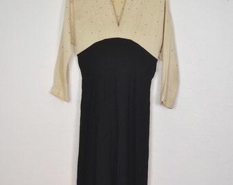Vintage 50s rhinestone black and white glamorous dress