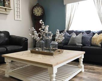 rustic farmhouse coffee tablee, square coffee table, coffee table.