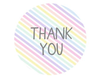 30 Rainbow Striped Thank You Stickers Pastel Packaging Labels Order Thank You For Ordering Wedding Favor Stickers Seal Stickers UK