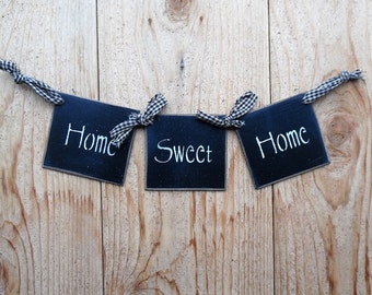 "Home Sweet Home, Square Horizontal Swag, Wall Hanging, 14"" X 3 1/2"", Custom Hand Made Swag, Hardboard and Homespun Swag, Made in the USA"