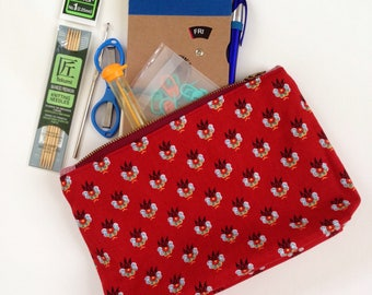 Red Printed pouch fully lined red vintage fabric 7 inch metal zipper