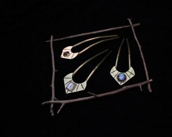 The ELLEN Hair Pin - Ft. Ruby, Moonstone, Abalone & Brass