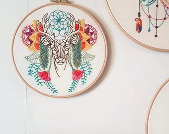 Abstract Deer embroidery hoop, colourful modern hand embroidery, large embroidery hoop art, decorative wall hanging, Handmade in the UK