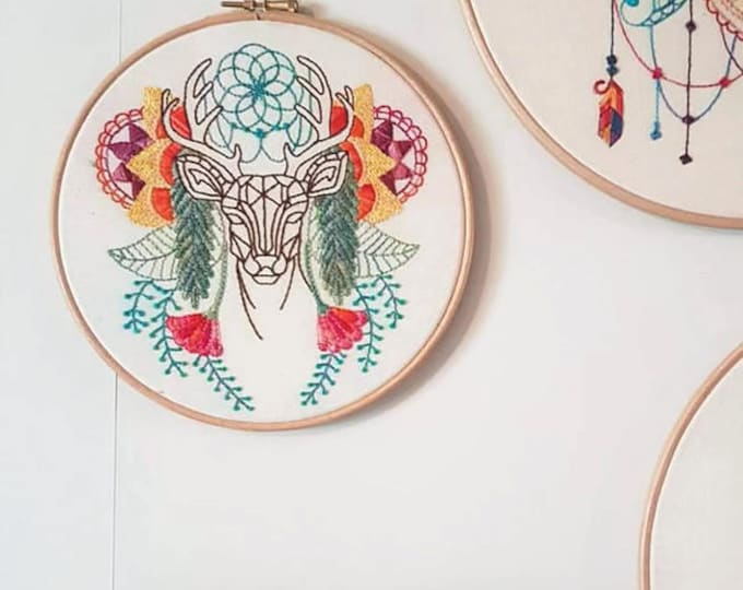 Featured listing image: Abstract Deer hand embroidery hoop, Handmade in the UK