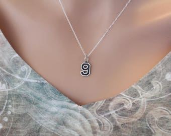Sterling Silver Number Nine Charm Necklace, Oxidized Sterling Silver Number Nine Necklace, 9 Necklace, 9 Number Charm Necklace