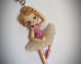 Necklace polymer clay handmade ballerina doll