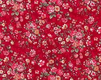 Burgundy Dark Red Country Floral Fabric -  100% Cotton Quilting Apparel Crafts Home decor