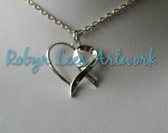 Silver Cancer Awareness Ribbon Heart Necklace with Pale Pink Rhinestone on Silver Crossed Chain or Black Faux Suede Cord