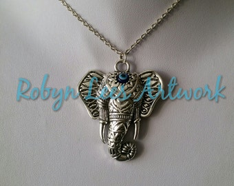 Chunky Silver Boho Tribal Filigree Patterned Elephant Head Necklace with Eye Ward on Fine or Chunky Silver Chain