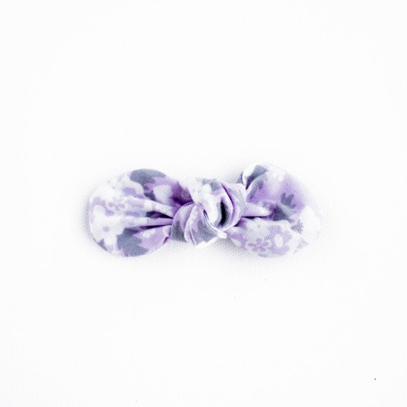 Lavender Floral Knotty Gal Baby Hair Clip :Baby Shower Gift, Infant Headband, Cotton Bow,