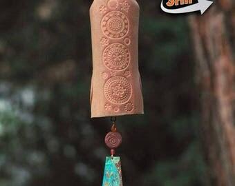 Ceramic Wind Chime Garden Bell with Circle Pattern, Unique Garden Art Decor Sculptured Bird, Copper Sail  IN STOCK!