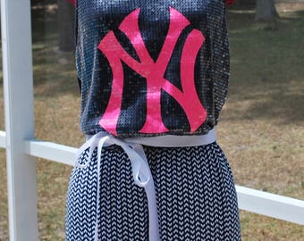 New York Yankees Sequins Game Day Maxi Dress with Removable Tie Medium ready to ship!!!