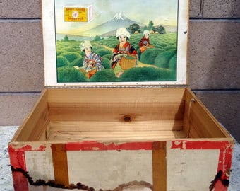 Vintage Japanese Tea Box, Japanese Wood Tea Shipping Crate, Griffin & Hoxie Antique Tea Crate, Utica N. Y.  Mount Fuji