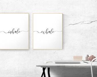 Inhale Exhale Print Set, Zen Quote, Yoga Art, Pilates Poster, Minimalist Bedroom Decor, Couple Wedding Gift, Breathe Print, Relaxation Print