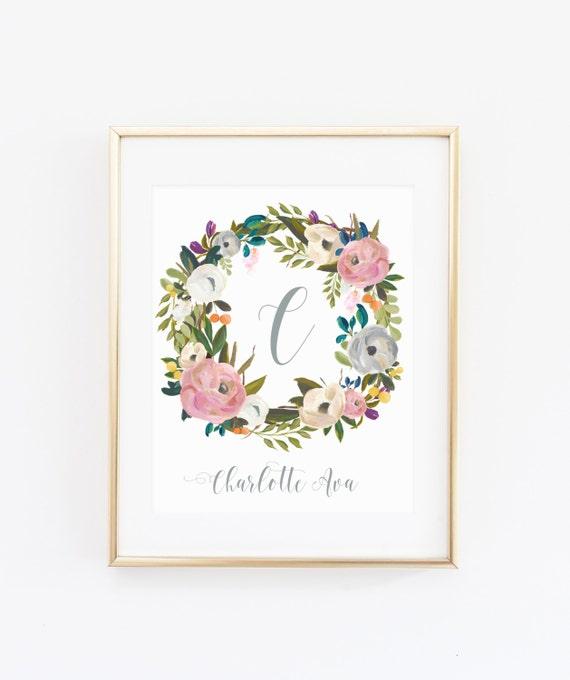 Shop Floral Monograms At Littlebrownnest Etsy Com: DIGITAL Muted Watercolor Flower Monogram Girl Nursery Name