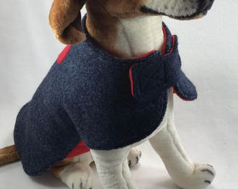 Re-purposed-wool dog coat-dog-pet clothing-handmade-dog coat-pet-gift for dog lovers-upcycled-pet coat-wool-appliqued dog coat-one of a kind