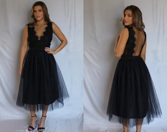 Black bridesmaids dress, black lace dress, bridesmaids dress, black dress, lace dress, backless dress, prom dress, homecoming dress, dress.