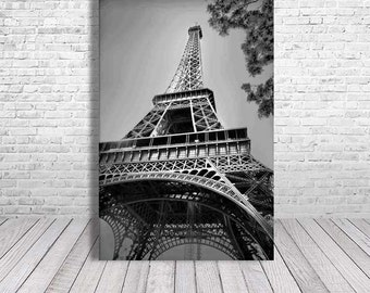 Paris Bedroom Decor, Paris Photography, Paris Canvas Art, Eiffel Tower Wall Art, Paris Print, Black and White Photography, Travel Photograph